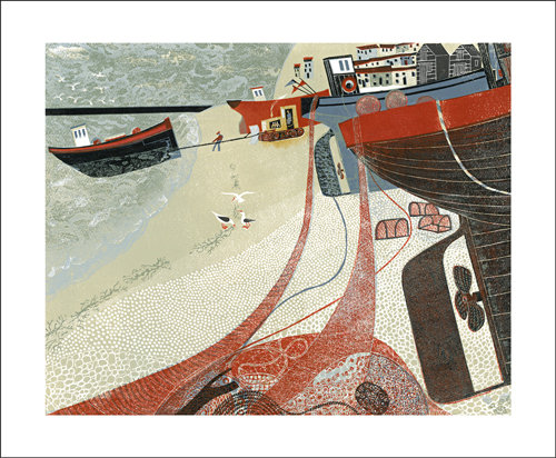Melvyn Evans - Fishing Boats on Hastings Beach - Card by Art Angels