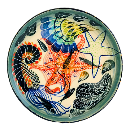 Pru Green Pottery - Plate Shells Fish and Sea Creatures