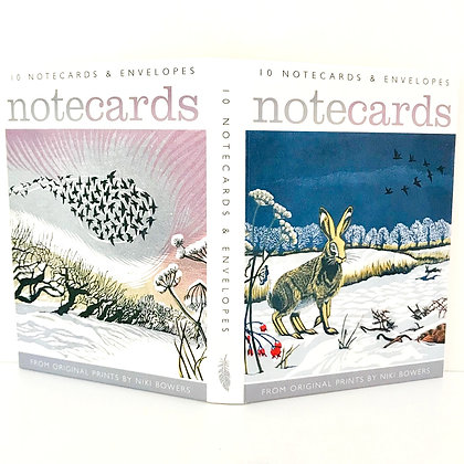 Winter Notecards - Niki Bowers - Winter Hares / Midwinter Starlings