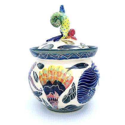 Pru Green Pottery - Glorious Handmade Decorative Jar with Lid