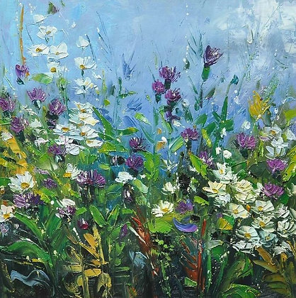 Original Oil Painting of wild flower meadow-Artist-Julia Sutton