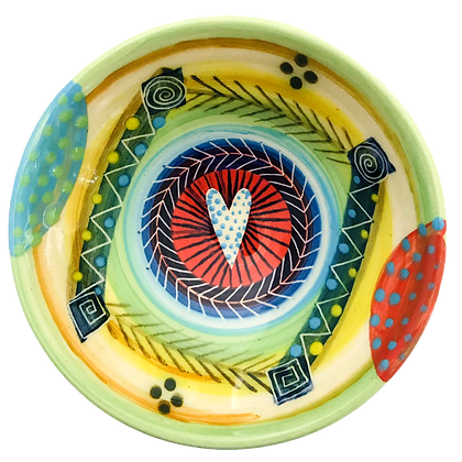 Pru Green - Small Dish Bold Colourful Abstract Design