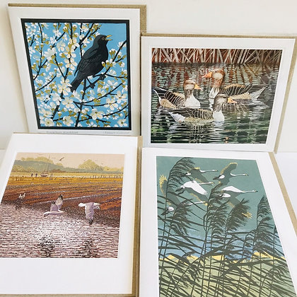Linocut Collection - 4 Printmakers Card Designs by Art Angels