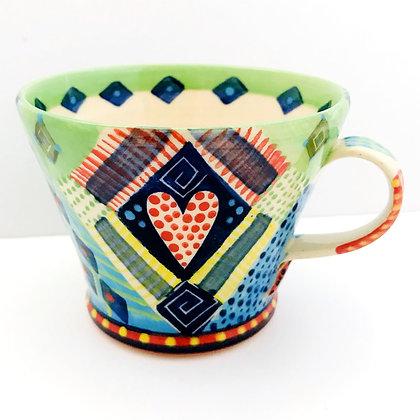 Bright Colourful - Unique - Pru Green Pottery Mug