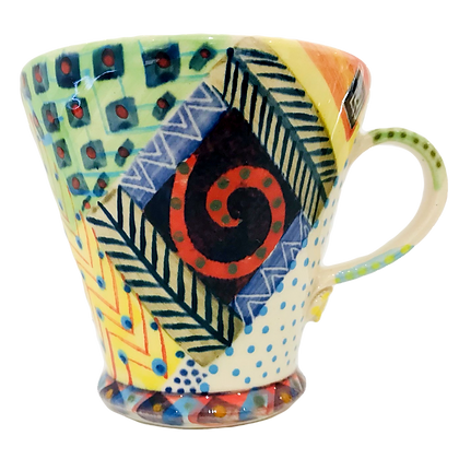 Pru Green Pottery - Large Bright Colourful Ceramic Mug