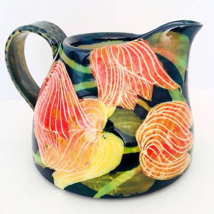 Large Jug with Colourful Tulip Design - Pru Green Ceramics