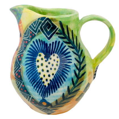 Pru Green - Colourful Patterned Heart Jug