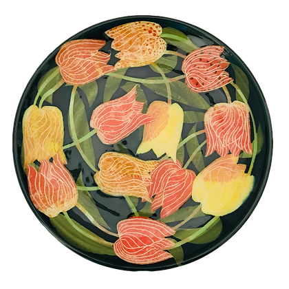 Pru Green Pottery - Plate Colourful Tulip Design Hand Thrown and Decorate