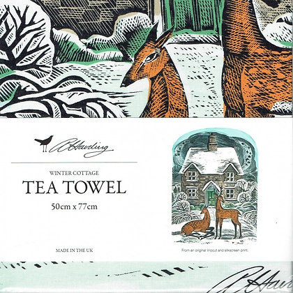 Angela Harding - Winter Cottage - Printed Tea Towel