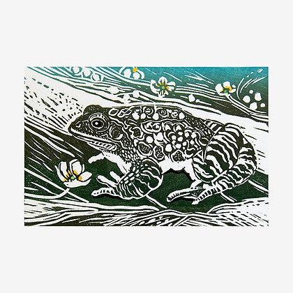Frog - Original Linocut by Linda Richardson
