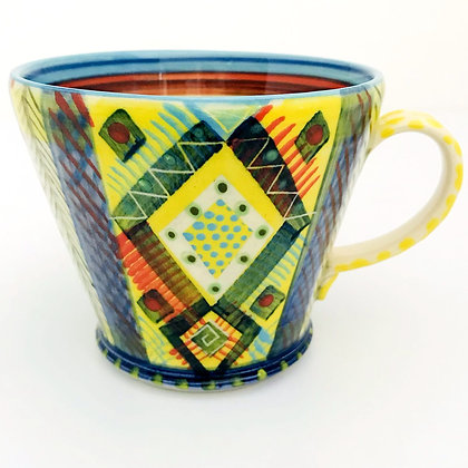 Pru Green Pottery - Large Bright Multi Coloured Mug