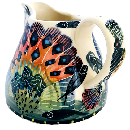 Pru Green - Large Pint Jug with Shell and Fish Design