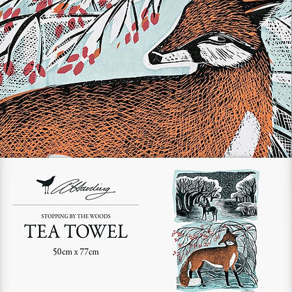 Angela Harding - Fox - Stopping By The Woods - Printed Tea Towel