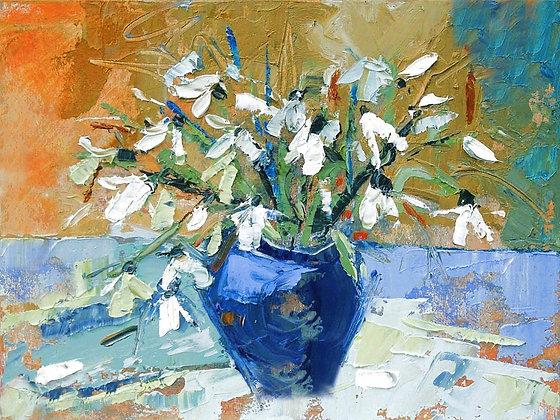 Julia Sutton - White Flowers Blue Vase