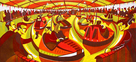 Paul Cleden Linocut - Counting Collisions