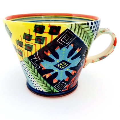 Pru Green Pottery - Large Bright Colourful Mug