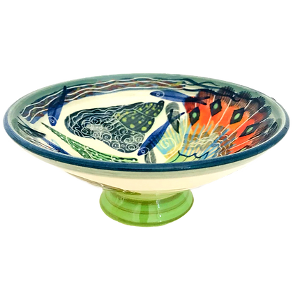 Pru Green -  Small Footed Dish Mollusc and Fish Design