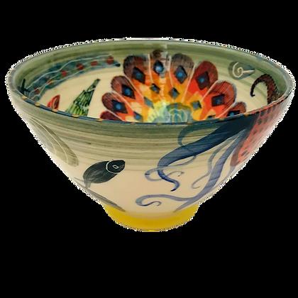 Pru Green Deep Decorated Bowl - Shell Design