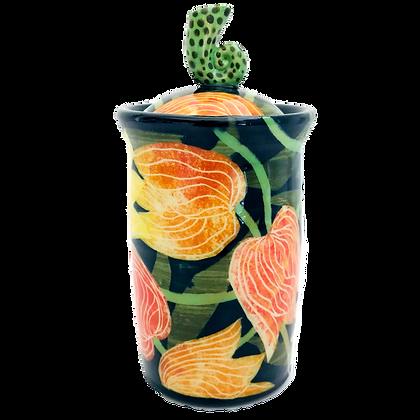 Devine Unique Tulip Floral Jar - Pru Green Pottery
