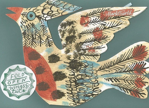 Mark Hearld - Flying Bird Greetings Card - Brown