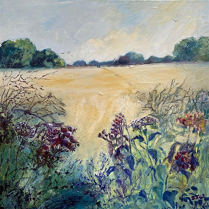 Beyond the Hedgerow - Original Painting by Sue Walker
