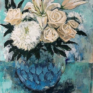 Geri Jones - White Flowers Blue Vase