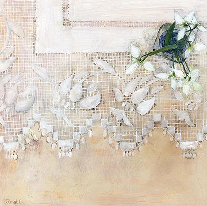 Snowdrops on Lace - Janet Cleghorn - Fine Art Greetings Card