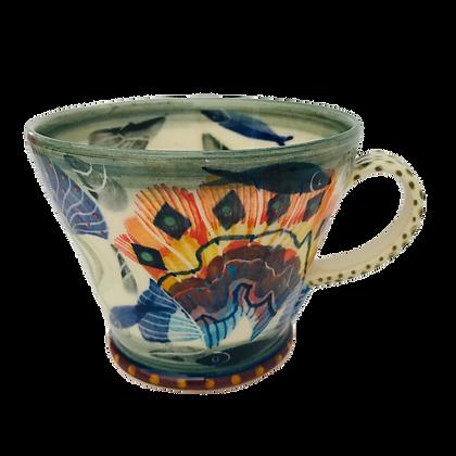 Pru Green Mug - Large- Shell, Molluscs and Fish Design