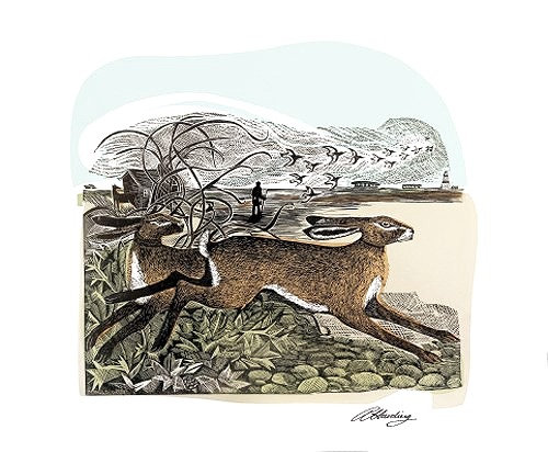 Angela Harding - Hares at Orford Ness - Card by Art Angels
