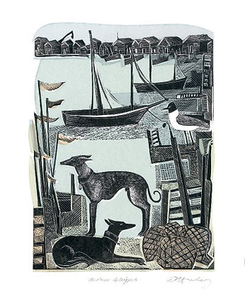 Angela Harding - Harbour Whippets - Card by Art Angels