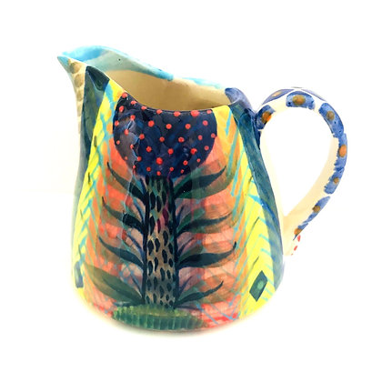 Pru Green Pottery - Bright and Colourful Decorated Small Jug
