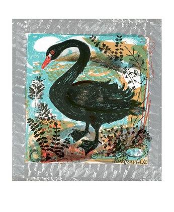 Menagerie Black Swan - Mark Hearld - Art Angels - Single Blank Card