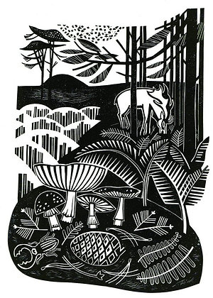 Autumn Heath Clare Curtis Linocut