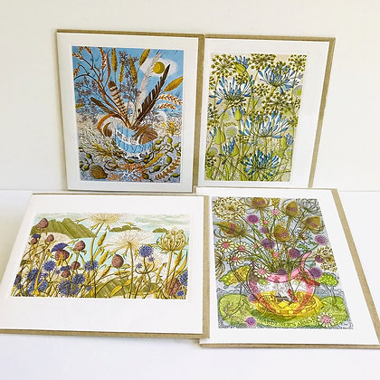 Angie Lewin - 4 Designs Printmakers Card Collection