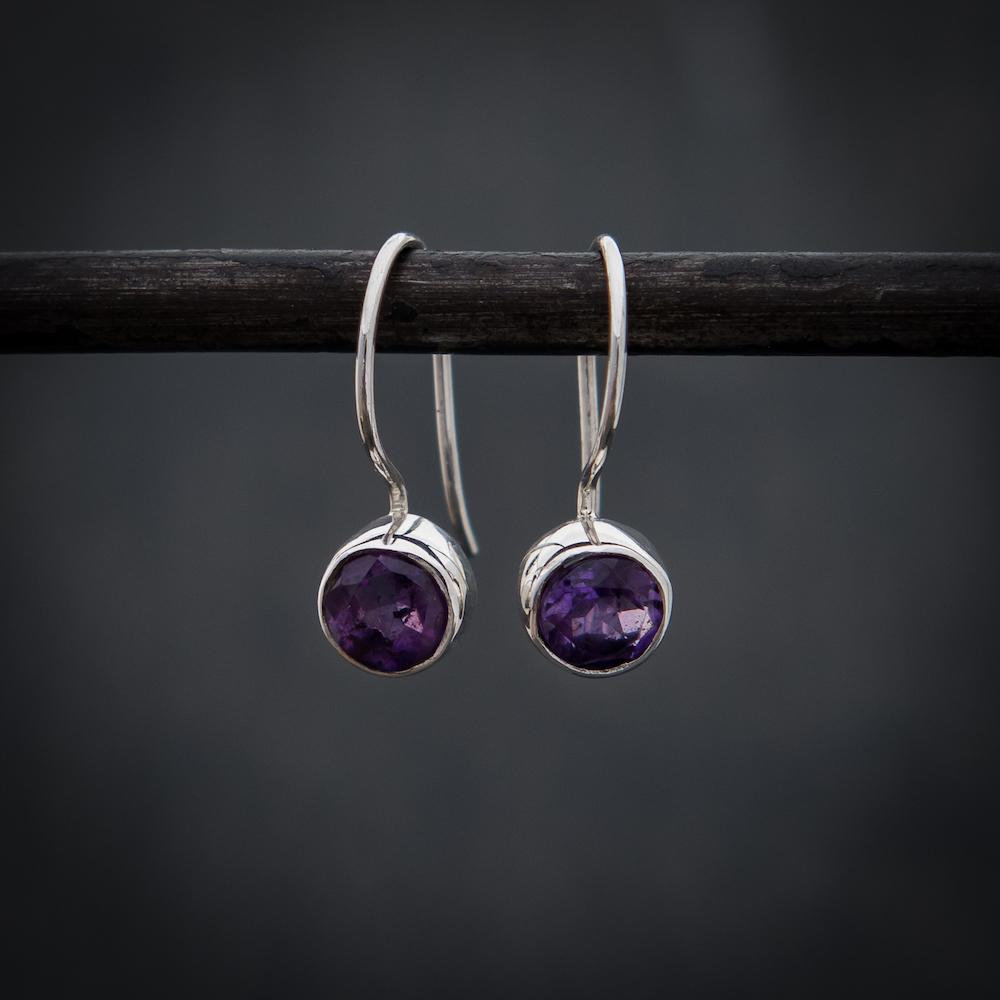 d3166a9c8c915 Amethyst and Sterling Silver Round Drop Earrings