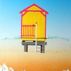 Yellow and Pink Beach Hut - Michael Papworth