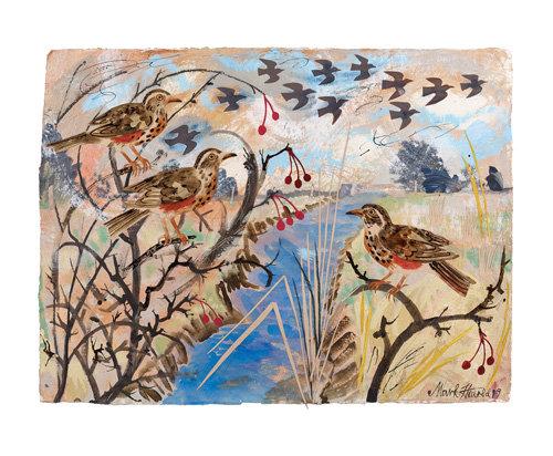 Redwings - Mark Hearld - Single Blank Card