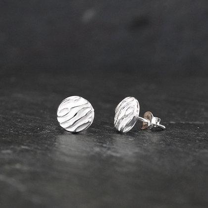 Sterling Round Raised Detail Stud Earrings