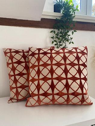 The Orange Spiral Cushion x 2