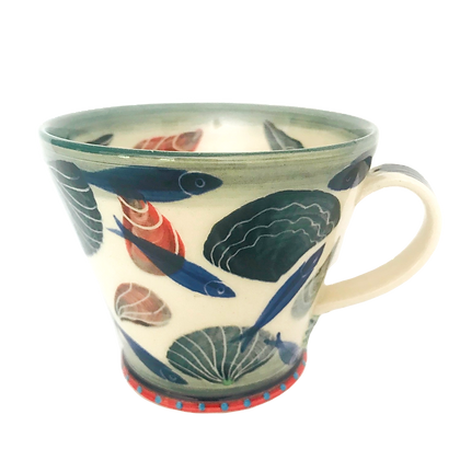 Pru Green Pottery - Handmade Mug Decorated in Shell and Fish Design