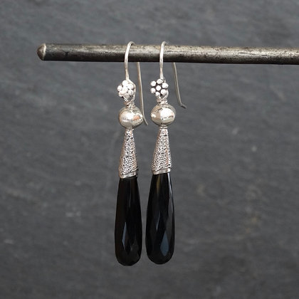 Black Onyx and Silver Granulation Drop Earrings