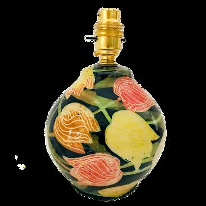 Pru Green - Round Lamp Base - Tulip Pattern