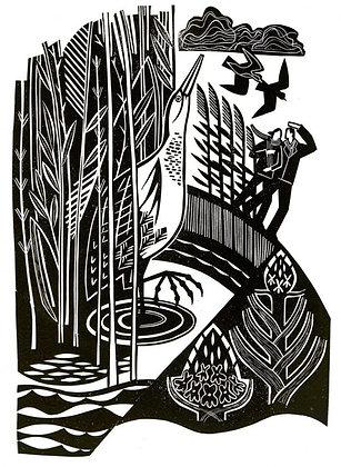 Heron in Spring Marsh - Black & White linocut Clare Curtis Printmaker