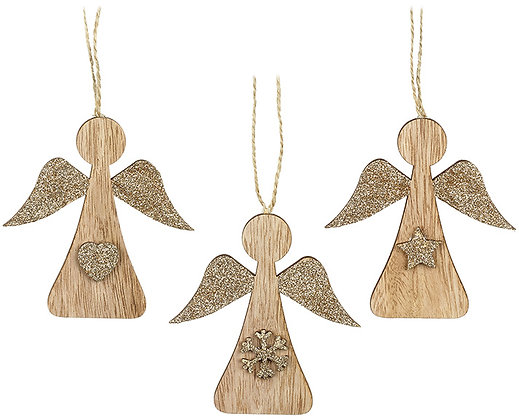 Assorted wooden angel tree decorations
