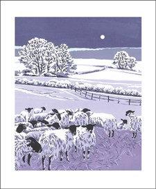 Flocks by Night - Christmas Cards - Art Angels Winter printmakers