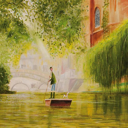 Punting - Cambridge - Fine Art Greeting Card - Green Pebble