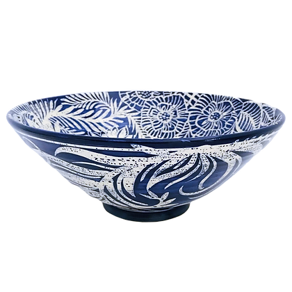 Pru Green - Blue and White Large Floral Decorated Bowl