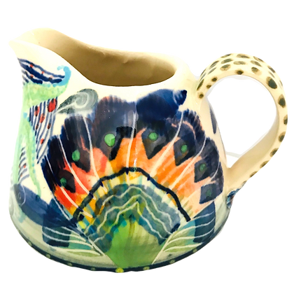 Pru Green Pottery - Small Jug Shell and Fish Design