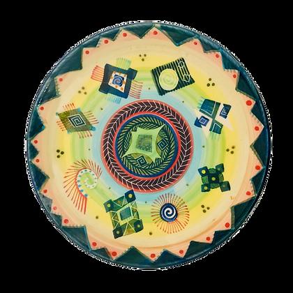 Pru Green Pottery - Plate Colourful Bright Hand Decorated Ceramics