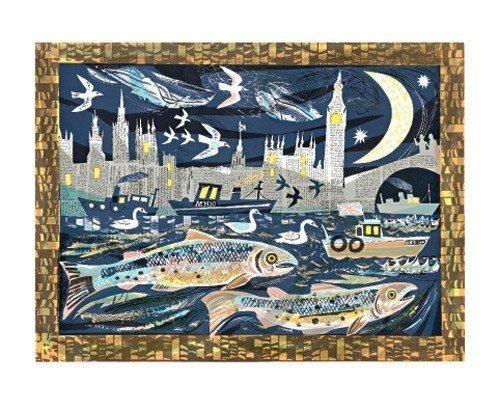 Mark Hearld - Card - Salmon Return to the Thames / Blank Card